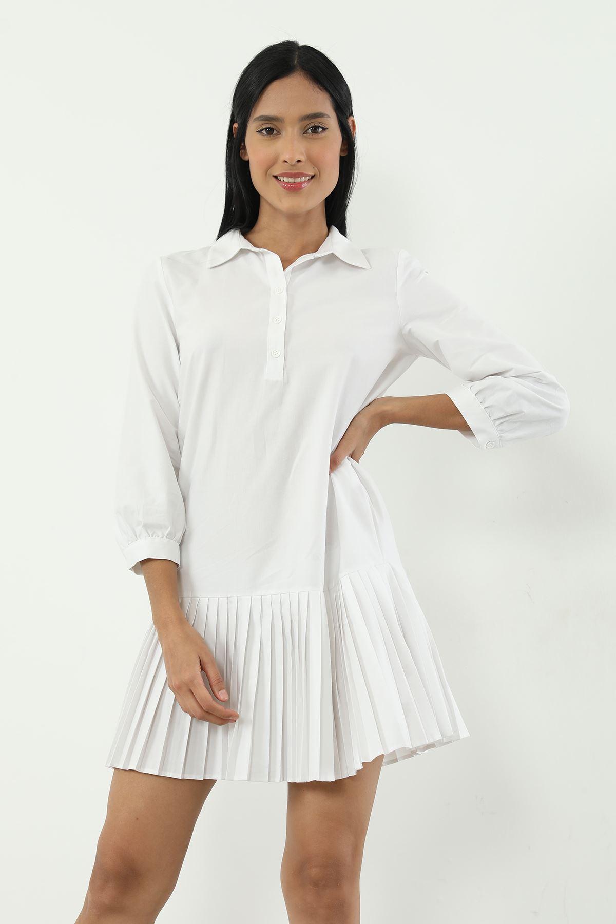Poplin Piliseli Elbise-Beyaz