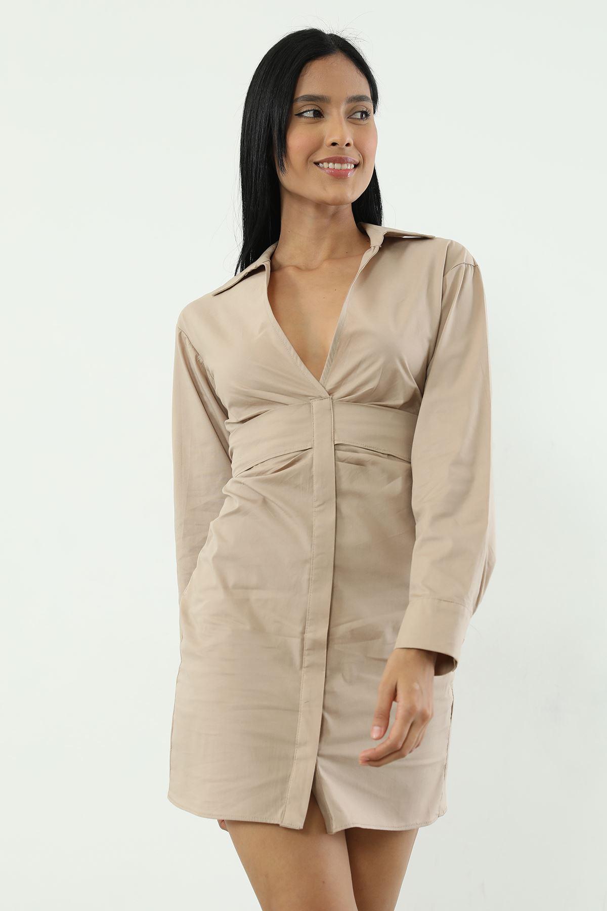 Bel Bağlamalı Poplin Elbise-Vizon