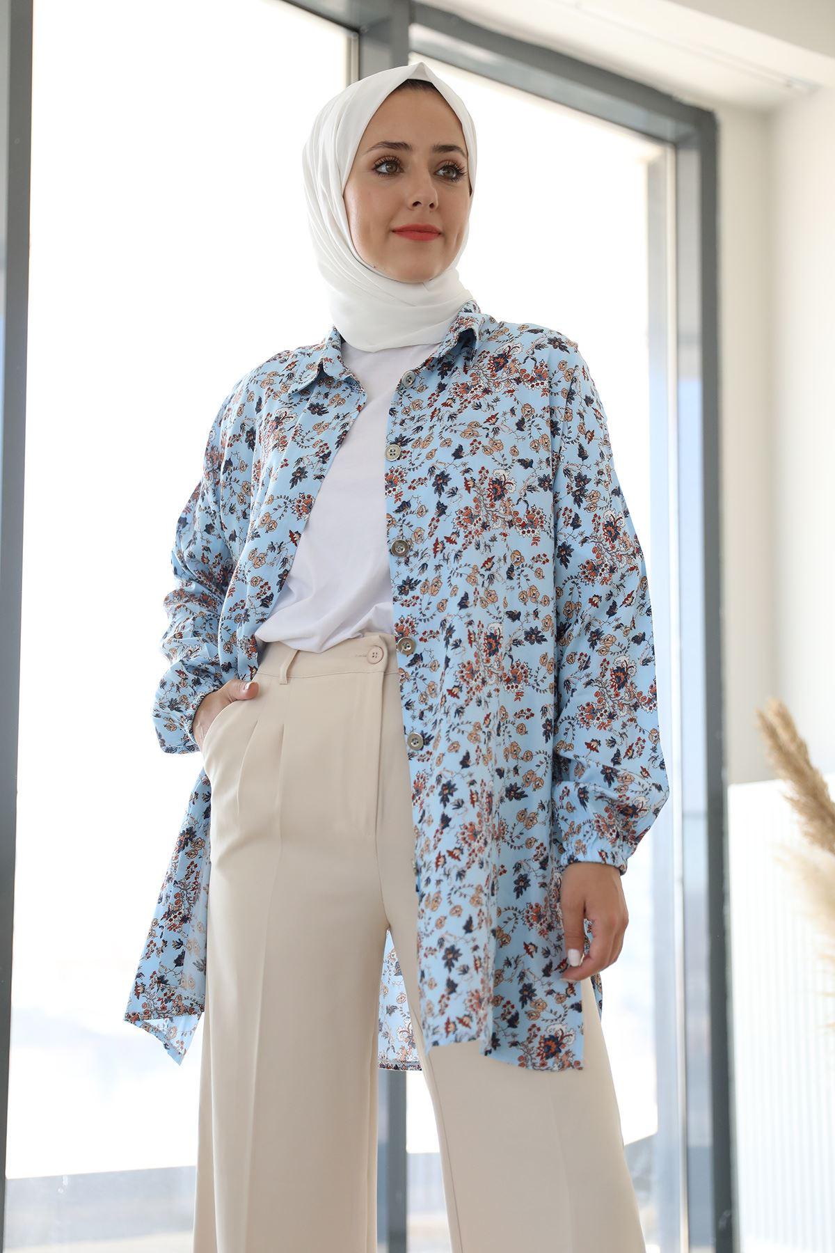Şal Desen Gömlek-Mavi