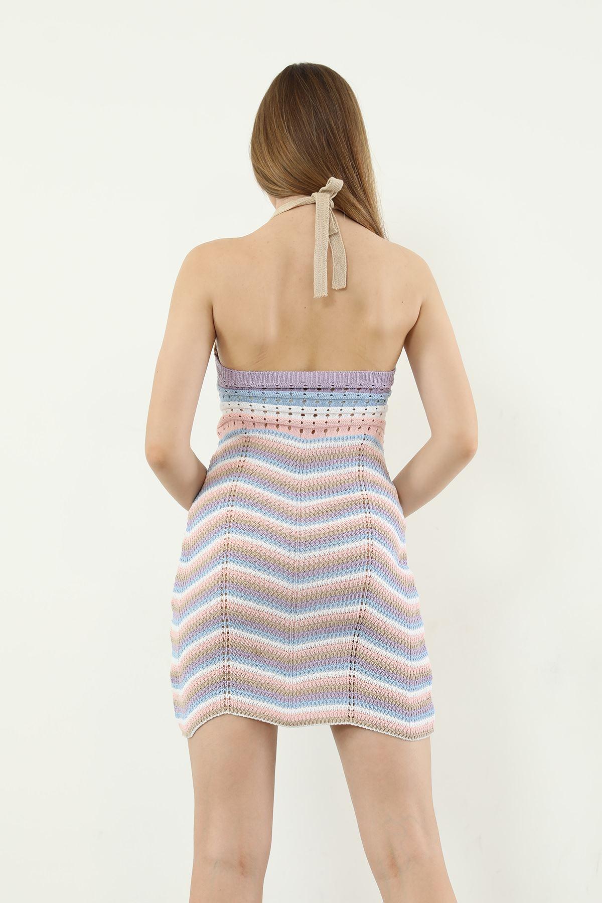 Çizgili Triko Elbise-Renkli