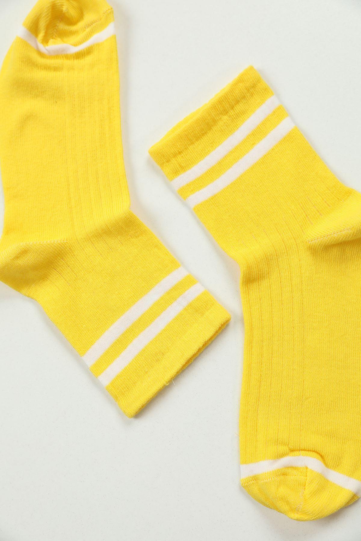 Çizgili Çorap-Sarı