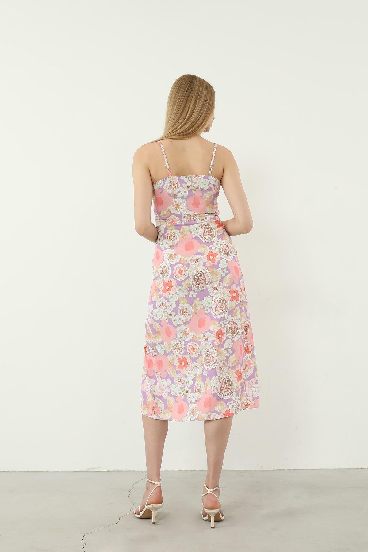 Yrtımaçlı Elbise-Lila