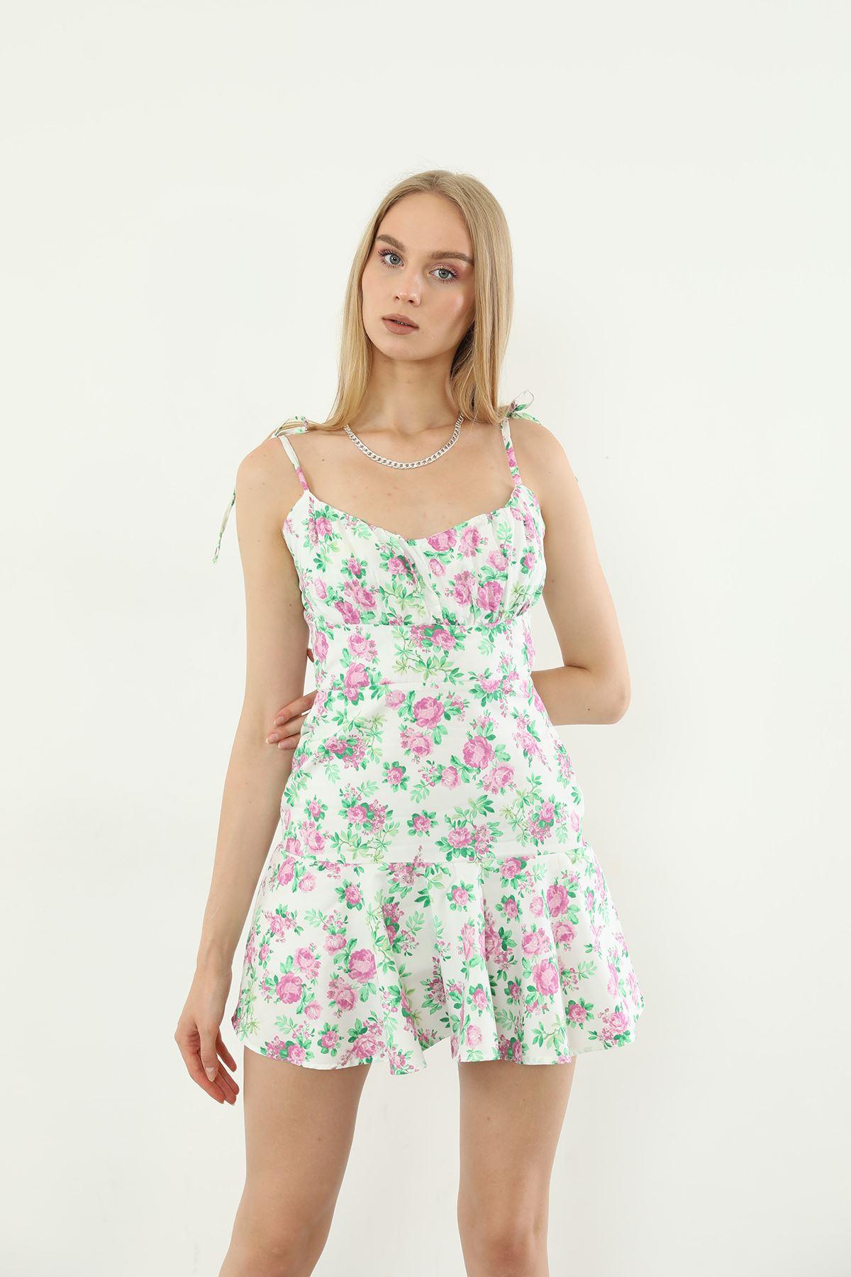Çiçek Desen Elbise-Lila