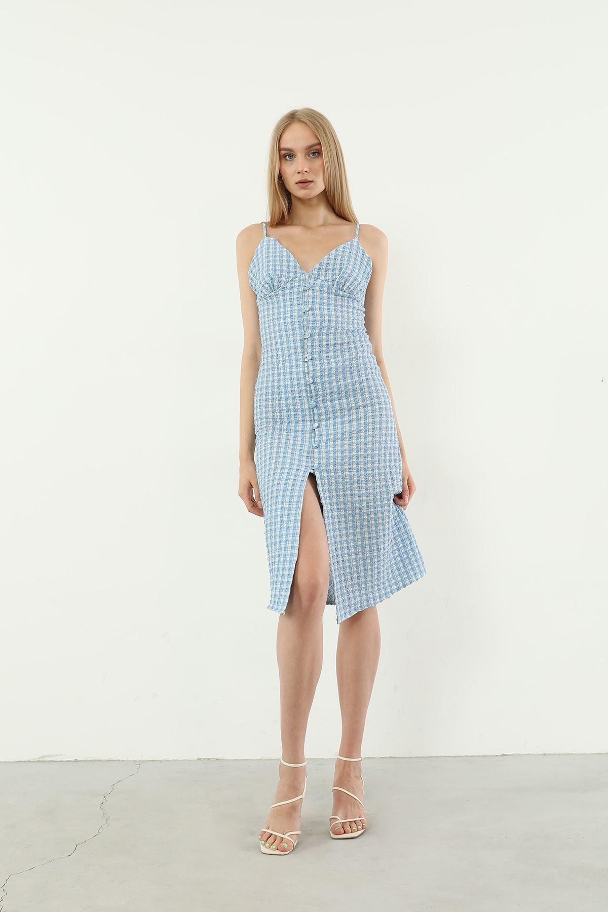 Sırt Detay Elbise-Mavi