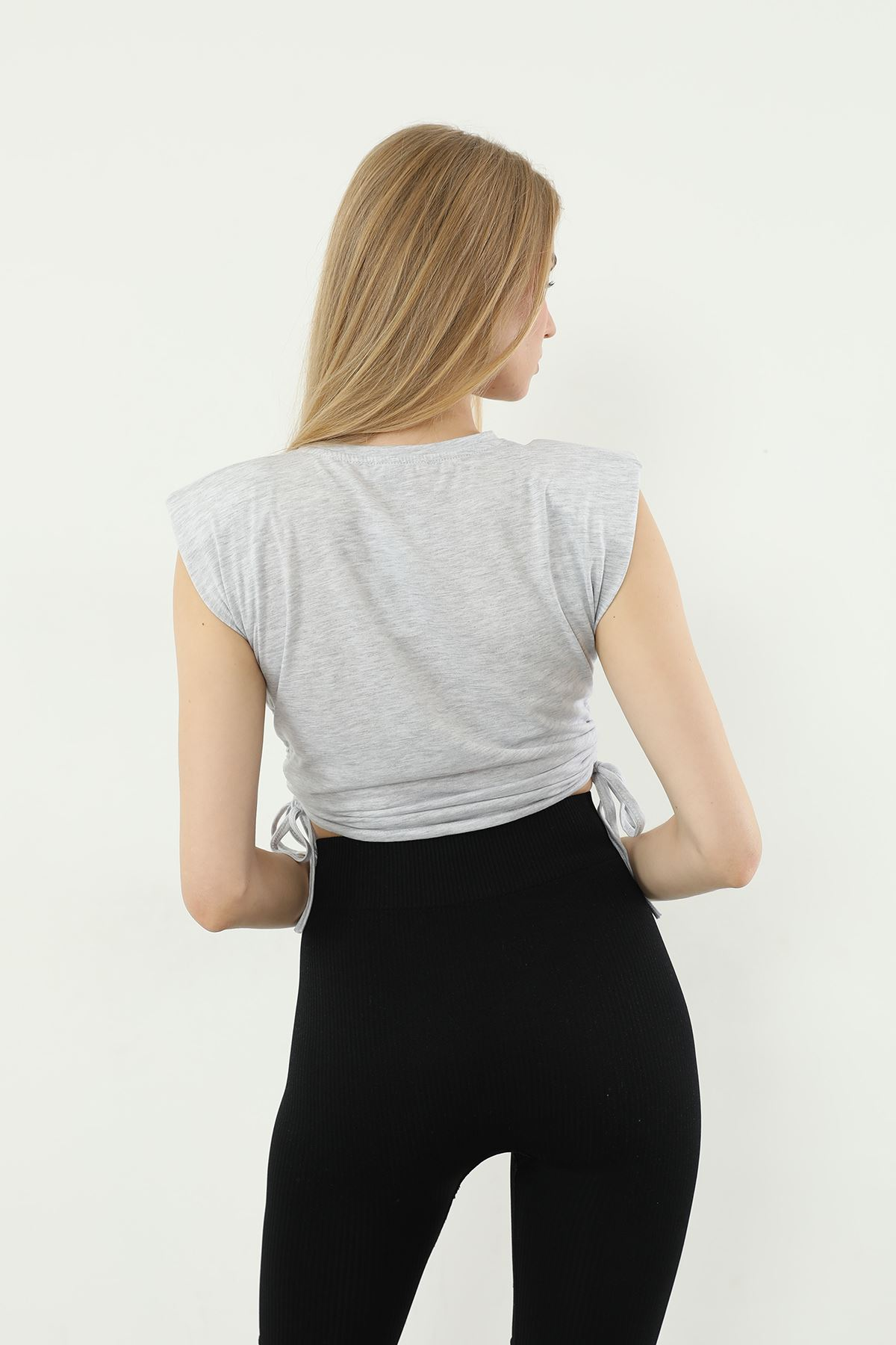 Vatkalı T-shirt-Gri