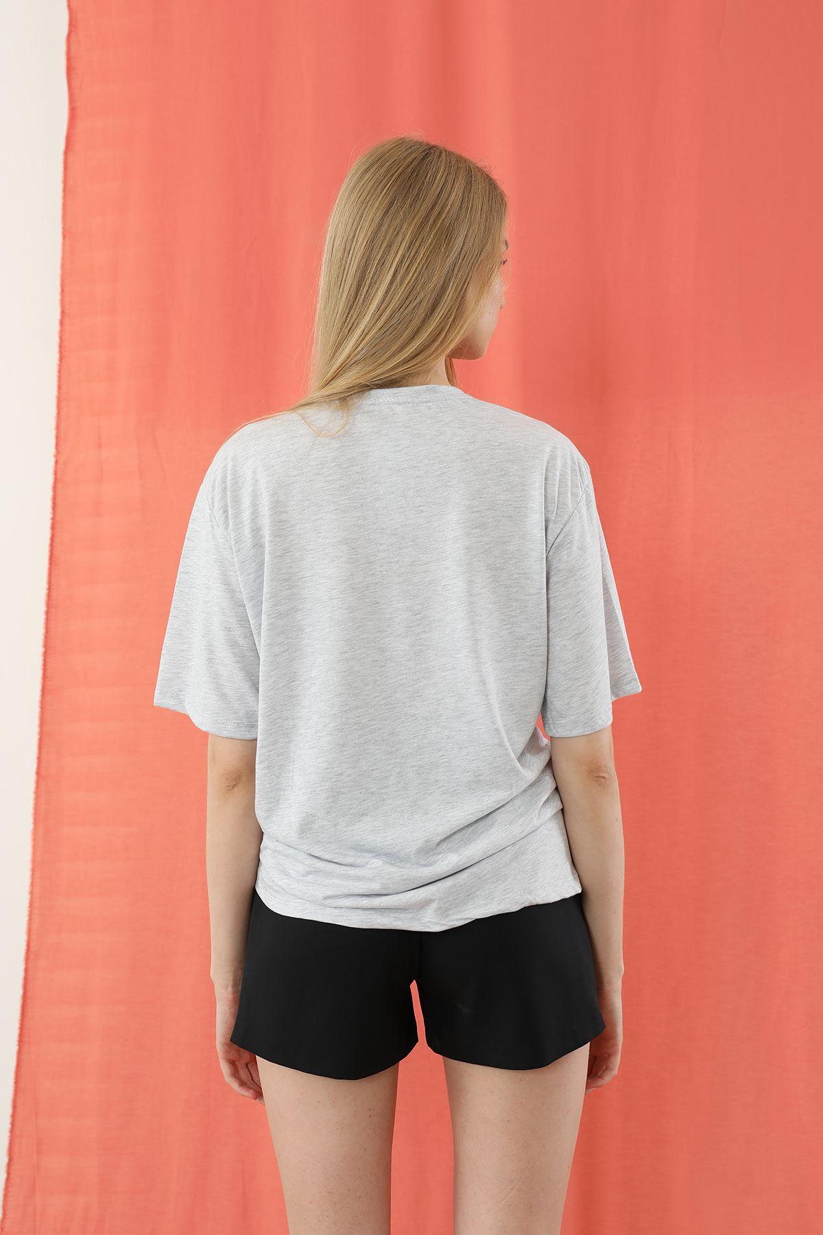 Not Dream Baskılı T-shirt-Gri
