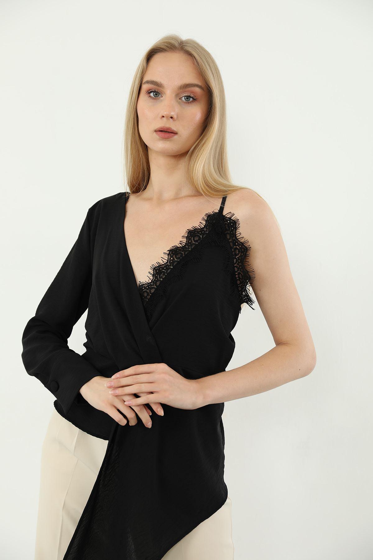 Dantel Detay Bluz-Siyah