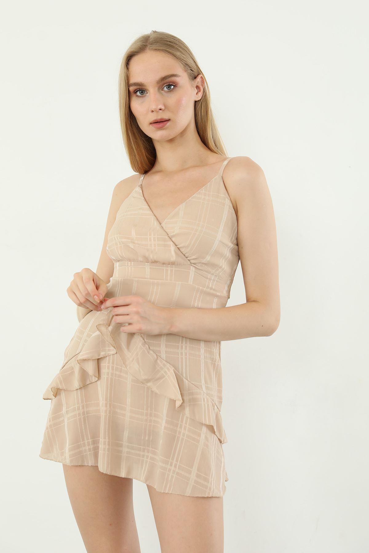 Askılı Kısa Elbise-Bej