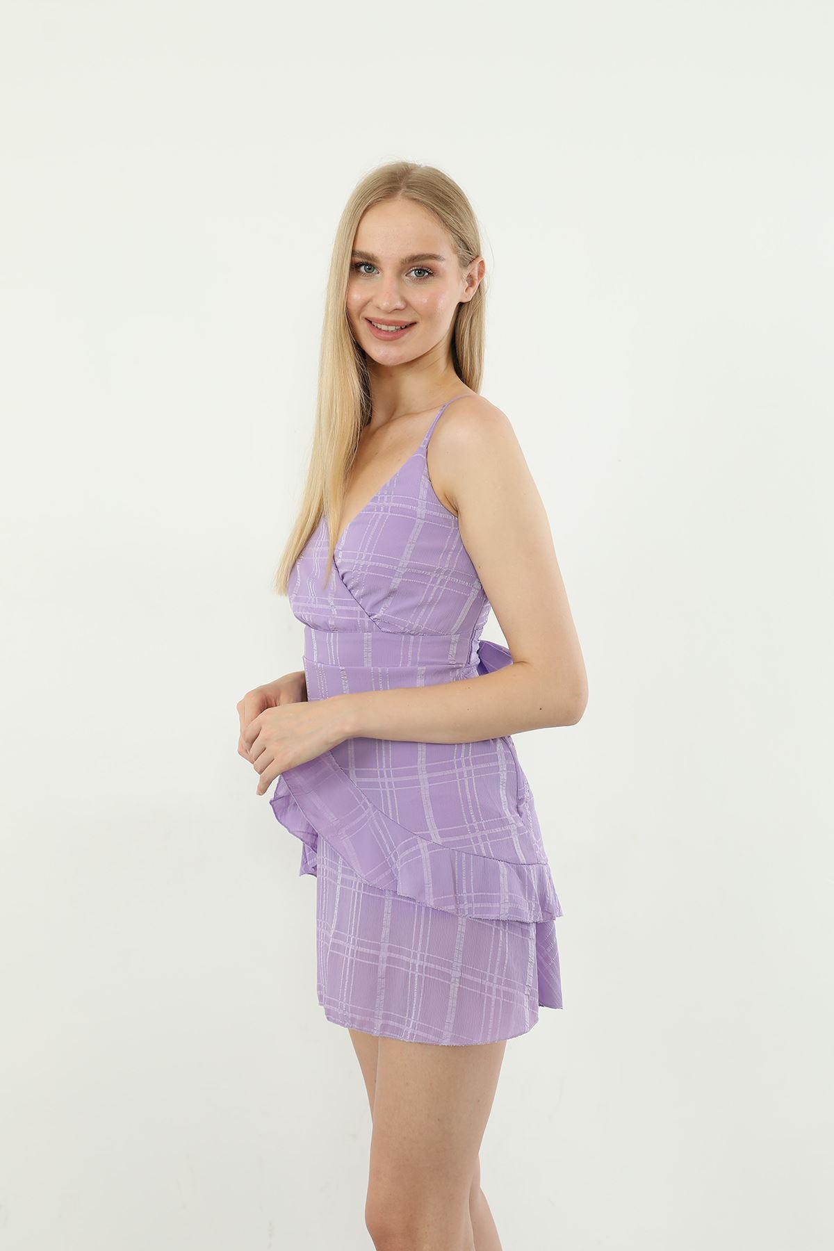 Askılı Kısa Elbise-Lila