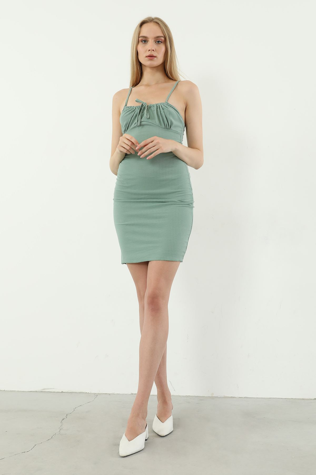 Askılı Kaşkorse Elbise-Mint