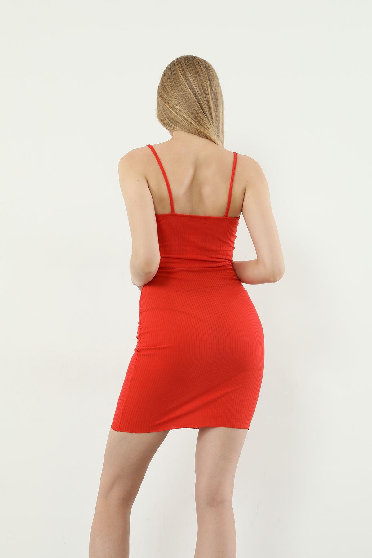 Askılı Kaşkorse Elbise-Kiremit