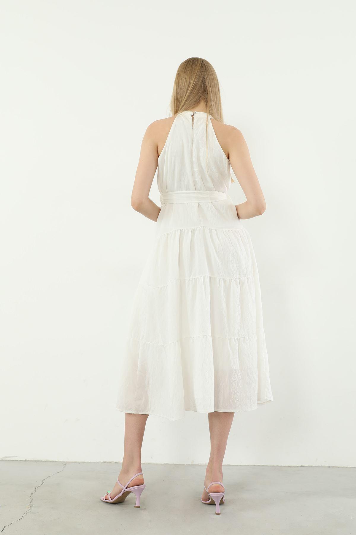 Kuşaklı Elbise-Ekru