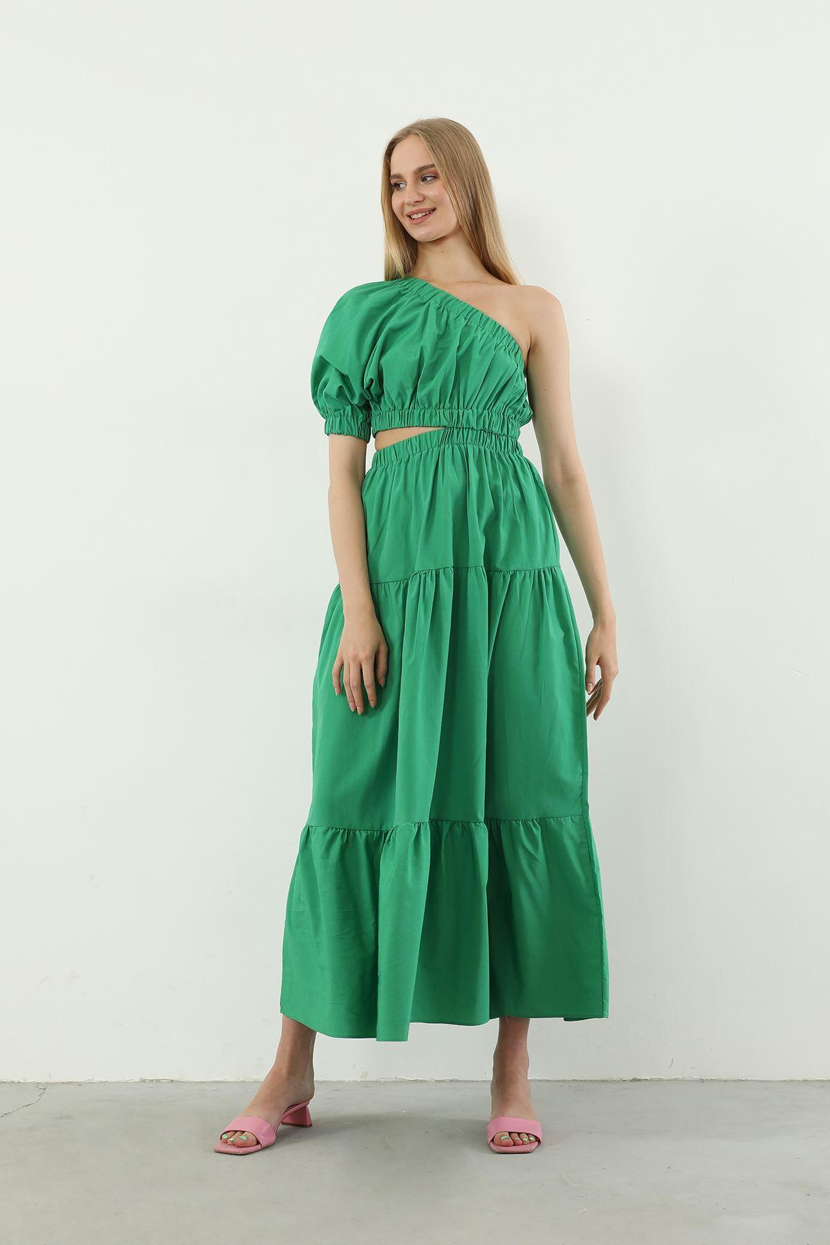 Tek Kol Poplin Elbise-Yeşil
