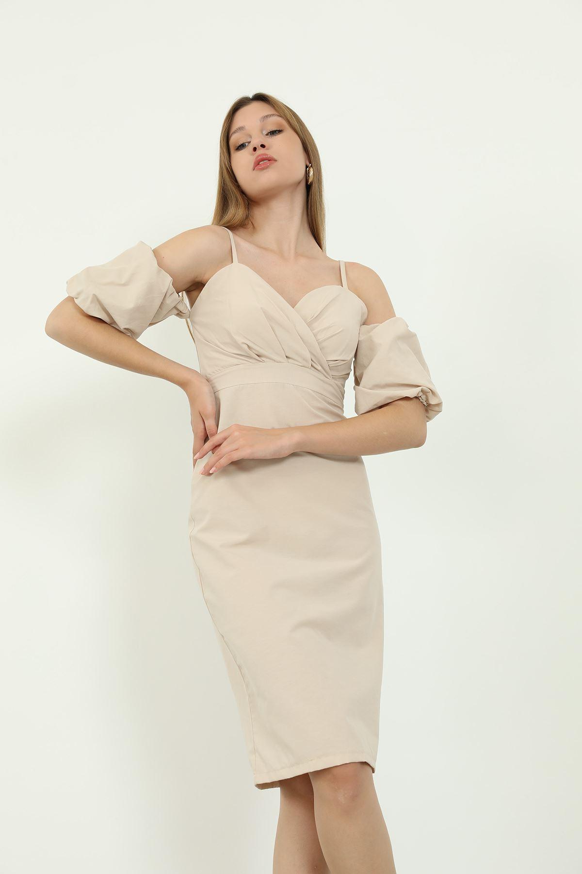 Poplin Elbise-Taş