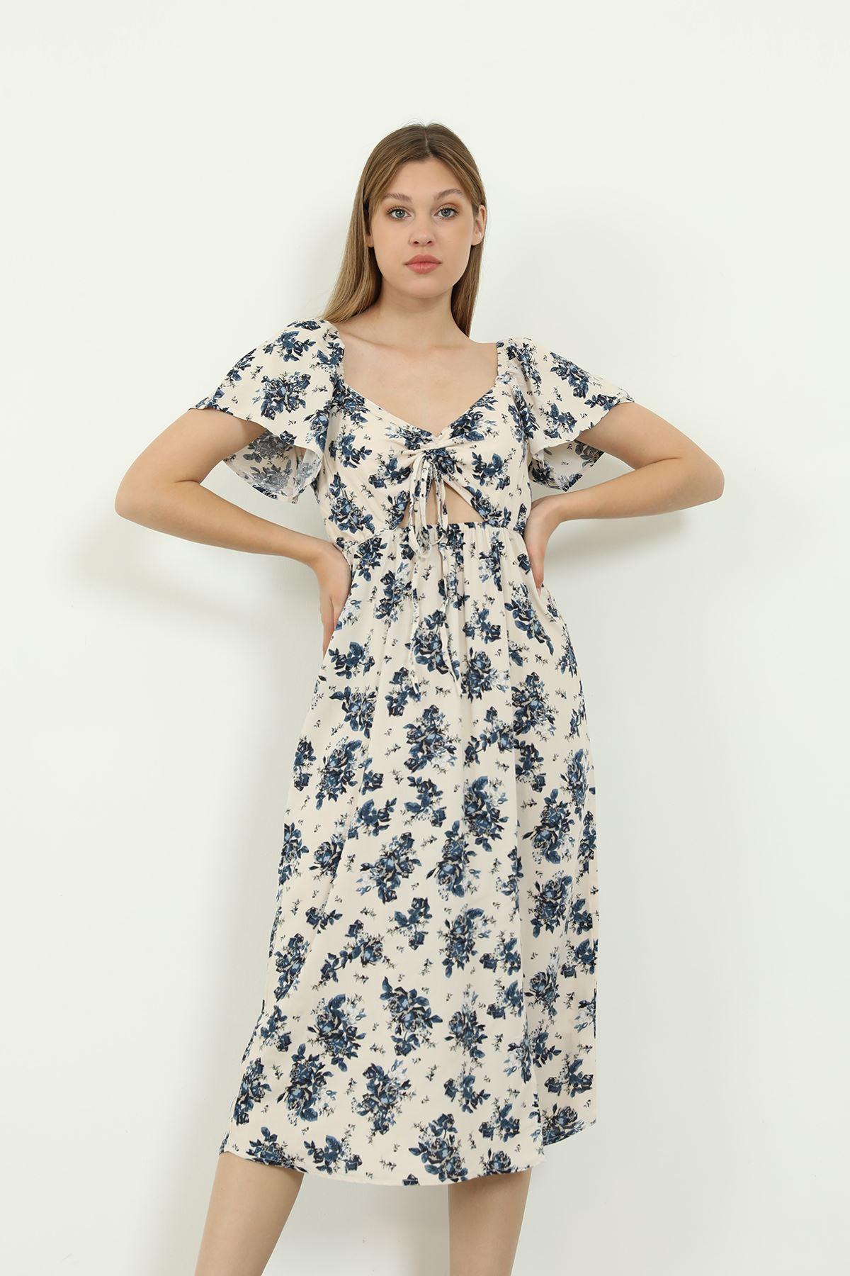 Desenli Elbise-Lacivert