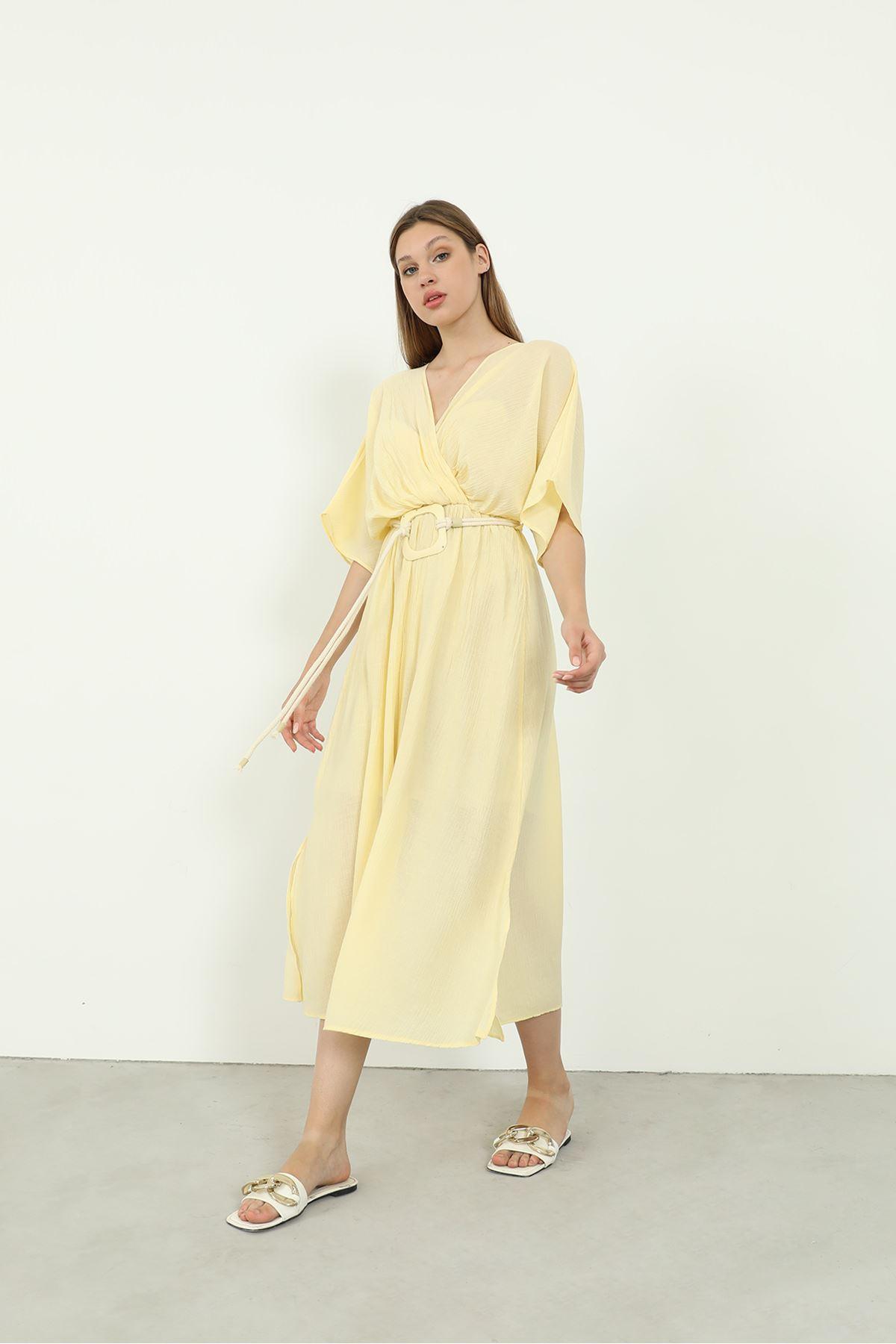 Kemerli Elbise-Sarı