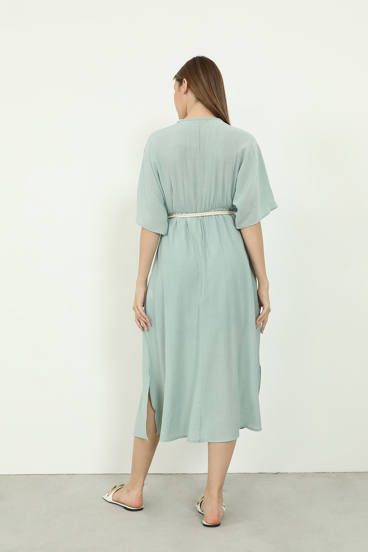 Kemerli Elbise-Mint