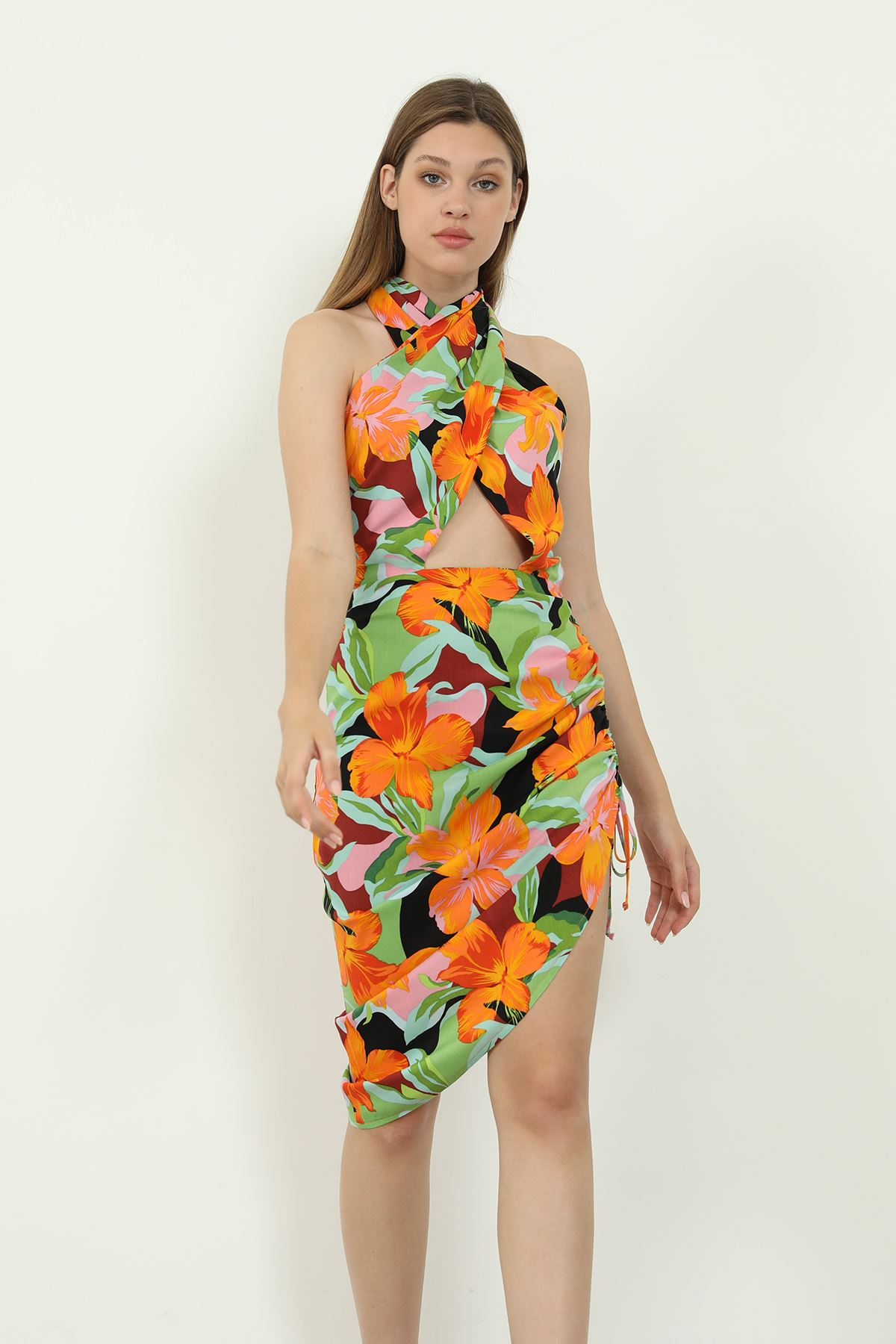 Desenli Yırtmaçlı Elbise-Oranj