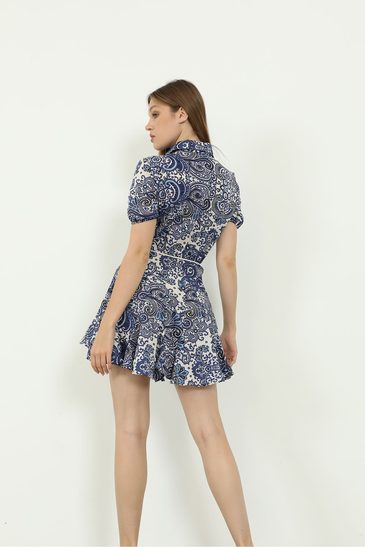 Şal Desen Gömlek Elbise-Lacivert