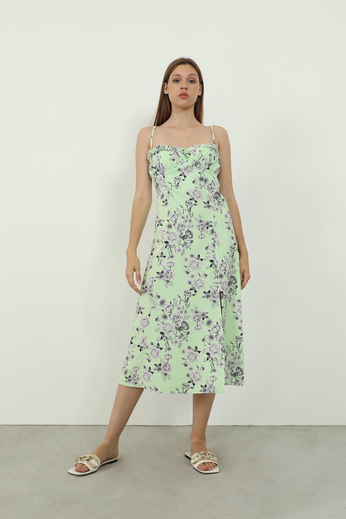 Askılı Desenli Elbise-Yeşil