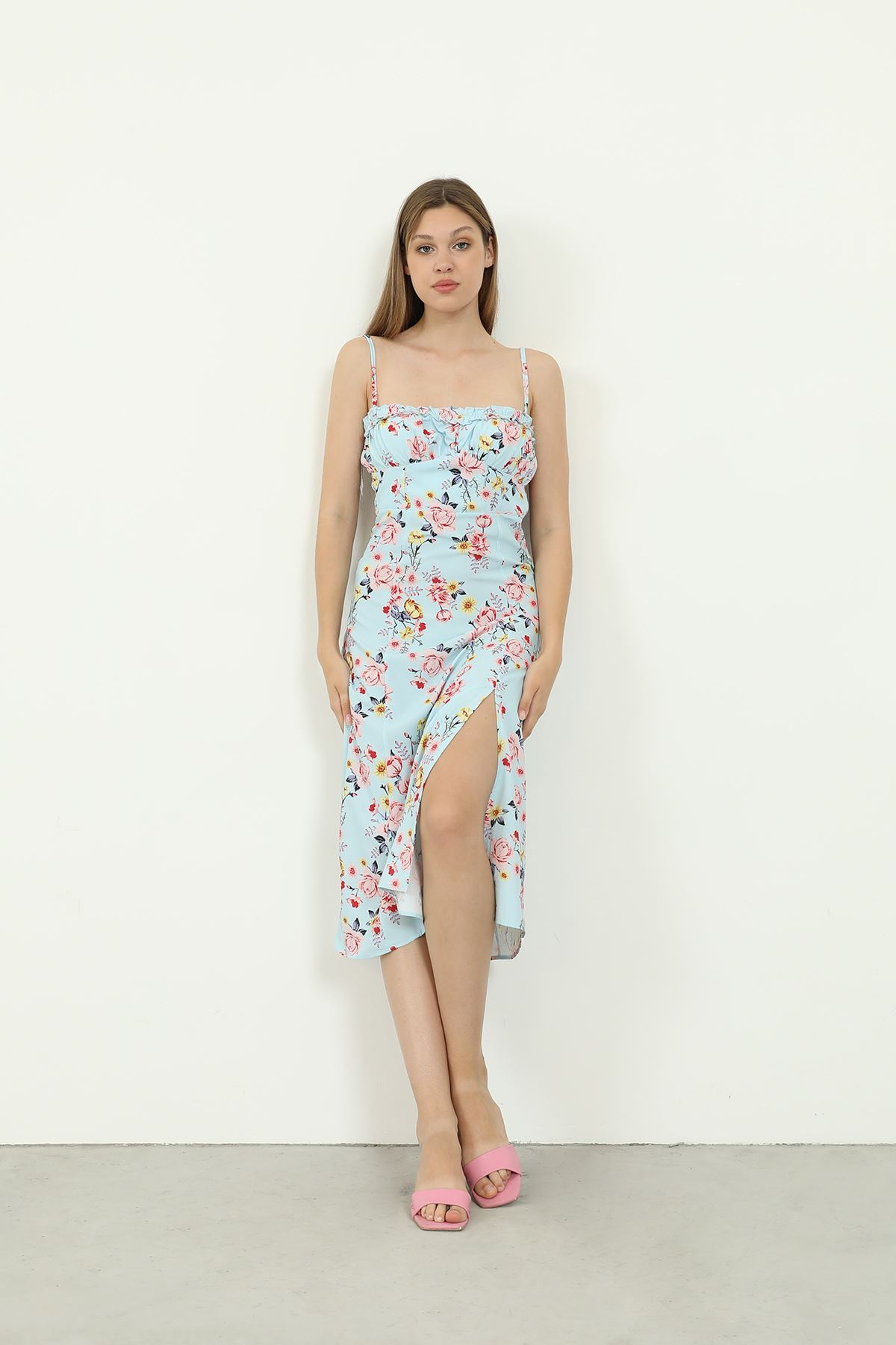 Askılı Desenli Elbise-Mavi
