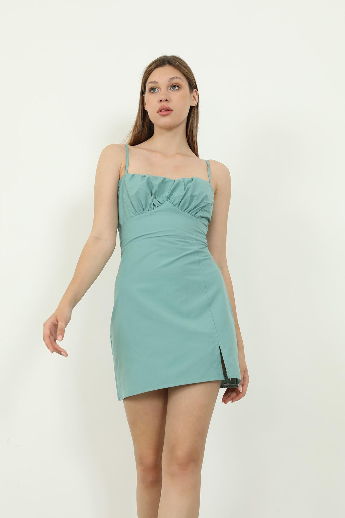 Askılı Poplin Elbise-Mint