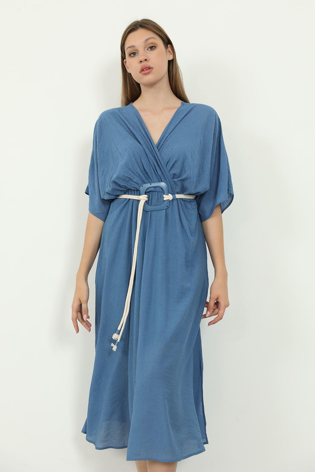 Kemerli Elbise-İndigo