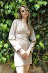 Bel Bağlamalı Poplin Elbise-Bej